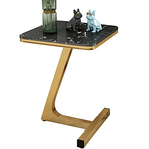 Mesa de Centro, Mesa de mármol de Lujo Ligero, Mesa de café pequeña en el balcón de la Sala de Estar, gabinete de la cabecera en el Dormitorio.-Negro + Oro b_45 * 45 * 60cm