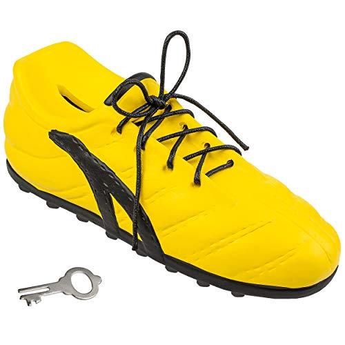 alles-meine.de GmbH 3D Effekt _ Spardose - Fußballschuh / Schuh - Sportschuh - gelb & schwarz - mit Schlüssel und Schloss - mit echten Schnürsenkel ! - 23 cm - stabile Sparbüchse..