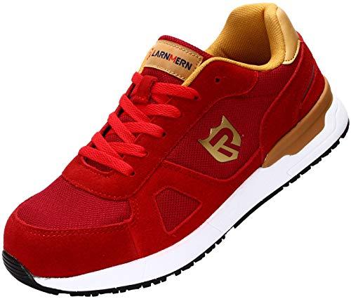 LARNMERN Sicherheitsschuhe Herren Damen, SRC rutschfeste Schuhe Arbeitsschuhe mit Stahlkappe Sportlich Schutzschuhe (42 EU Red)