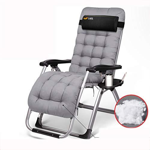 VIVOCC Réglable Fauteuil Zero Gravity Chaise, Pliant Plein air Chaises Longues Chaise Longue Camping canapé-lit avec Porte-gobelet Plage Patio -E 180x65x41cm(71x26x16inch)