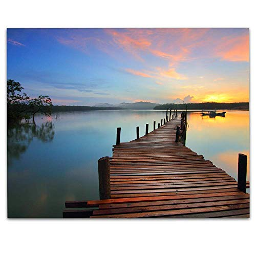 Sunset Dock Escape- 8 x 10' Photo Art Print Ready to Frame.- Picturesque Wall Art-. Home Décor, Office Décor & Unique Wall Print. Great Addition for Lake House Decor & Parties.