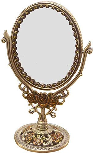 FACAIA Spiegel-Schminkspiegel - Vintage Bronze-Spiegel, doppelseitiger Schminkspiegel aus