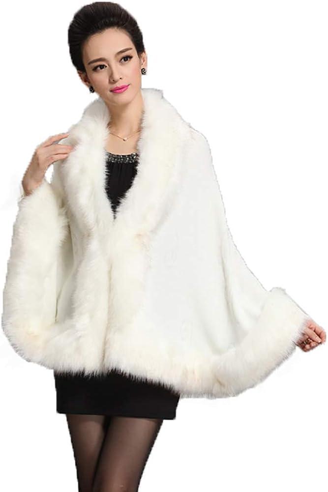Obosoyo Womens Luxury Bridal Faux Fur Shawl Wraps Cloak Cape Warm Winter Sweater Wedding Dress Party Coat