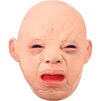 Crying Baby Costume Mask Cry Baby Latex Head Mask Latex Rubber Cry Baby Face Head Mask Latex Head Mask Baby Face Halloween Costume Party Costume Decorations Adult Accessory