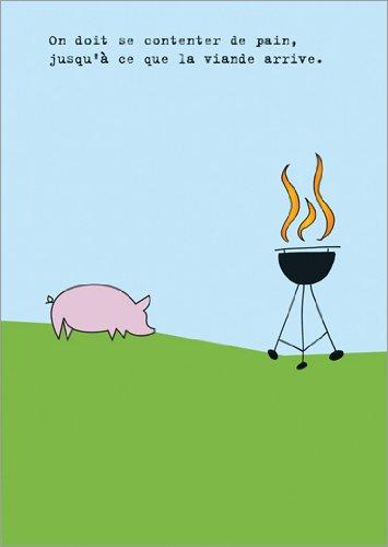 Set met 5 wenskaarten: uitnodigingskaart voor het grillen in de zomer: je moet tevreden zijn met brood voordat het vlees komt.