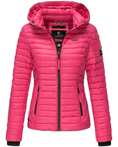 Marikoo Damen Jacke Steppjacke Übergangsjacke mit Kapuze gesteppt B600 [B600-Samt-Pink-Gr.S]