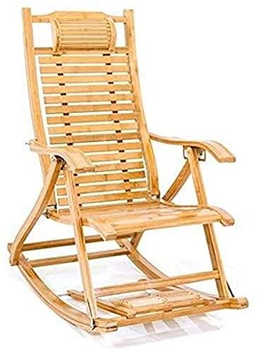 PAKUES-QO Silla reclinable para tumbonas, Mecedora de bambú, Silla de Siesta para Anciano, jardín con Bolas de Masaje para pies, Descanso para el Almuerzo, sillón, Tumbona
