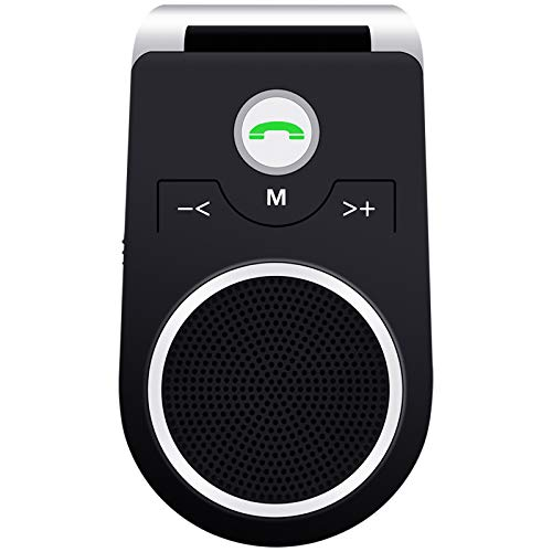 (Updated) Manos Libres para Coche, Altavoz Bluetooth Coche Inalámbrico Kit Adaptador de Coche con Función Manos Libres Receptor Conecta con Siri, Google Asistente Soporta GPS y Música- español