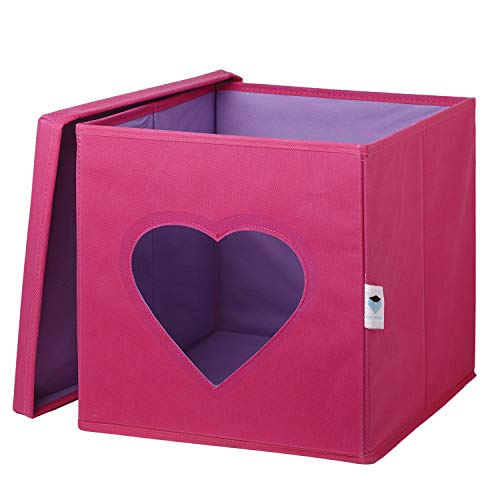 STORE IT - Spielzeugkiste mit Deckel - Herz, 30x3030cm, pink/ lila, faltbare Spielzeugkiste für das Kinderzimmer, Aufbewahrungsbox für Kinder