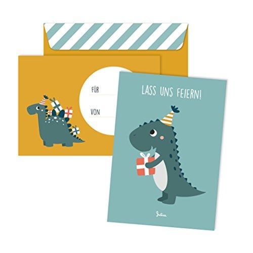 Julica Einladungskarten Kindergeburtstag | 6 Karten mit Umschlag | 6er Set | Geburtstagseinladungen für Jungs und Mädchen (Dino)