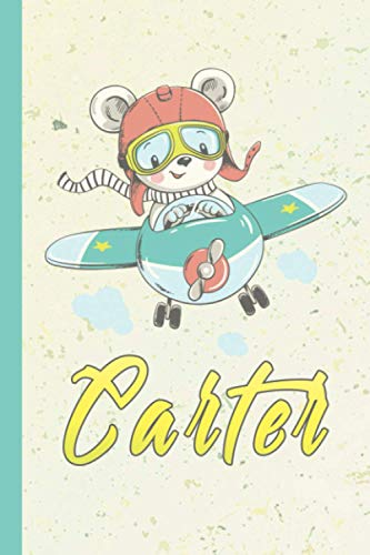 Carter: Personalized baby bear Sketchbook For Boys With yellow Name color,...