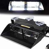 Balise Feu de Détresse Blanc16 LED Application de la Loi Lumière Avertissement Stroboscope Clignotant Lampe D'urgence avec la ventouse 12V Pour le toit/le tableau de bord/le pare-brise internes