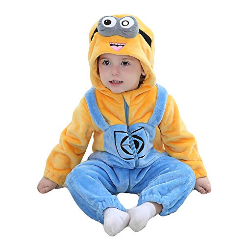 Unisex Baby Romper Winter and Autumn Flannel Jumpsuit Animal Cosplay Outfits(Minions,70cm-(2-5months))