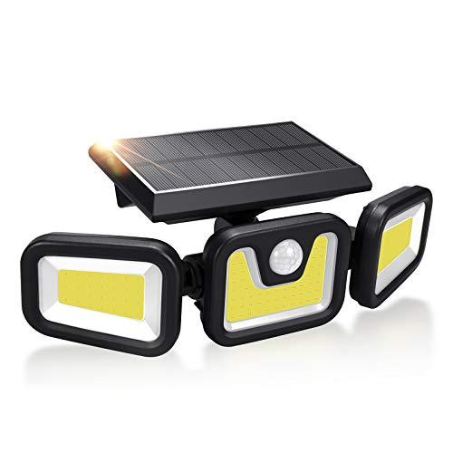 Lámparas solares para exteriores LED (103 ledes, 3 cabezales), para exteriores con detector de movimiento, resistente al agua IP65, iluminación de 360°, iluminación para garaje, terraza, camino, valla