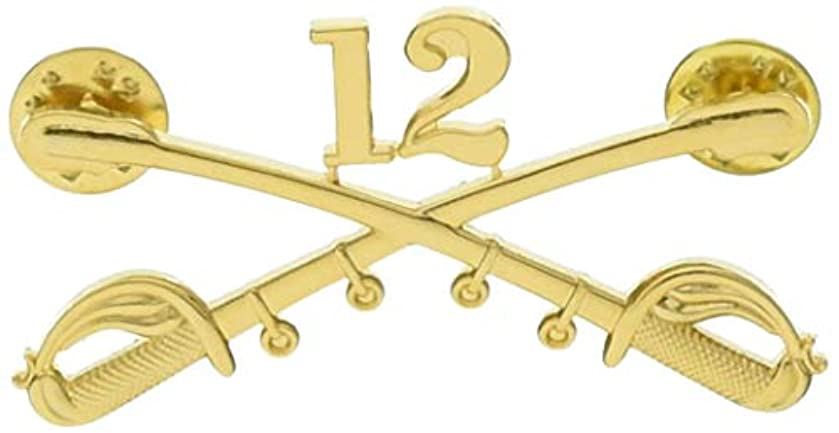 EagleEmblems P16042 Bdg-Army,Cav.Swords,12TH (2.25'')