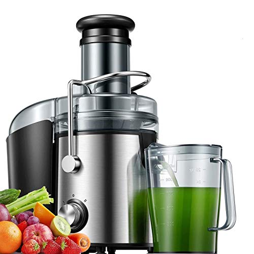 Juicer Machines 800W Juicer Extractor Quick Juicing for Whole Fruit And Vegetable Easy To Clean, And 75MM Large Feed Chute, Dual Speed Setting And Non-Slip Feet, Silver