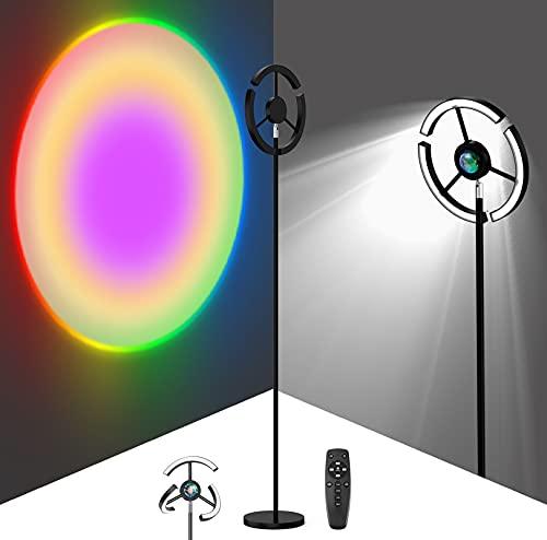 Lámpara de Pie Sunset Lamp, LED Lámpara de Piso Infinito Regulable y RGB Lámpara de Sunset 2 en 1, Ángilo Ajuestable Luz Romántico Visual con Control Remoto, para Salón, Dormitorio, Selfie, Fiesta