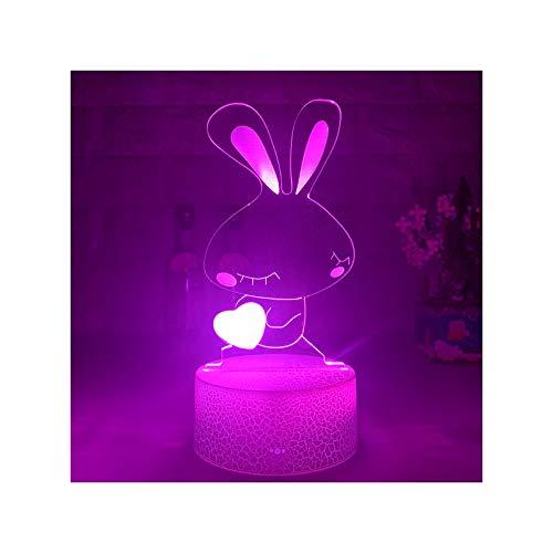 HOKVJ Kid Light Nights 3D Led Illusio Nightlight Mesa Creativa Lámpara De Noche Corazón Romántico Conejo Luz Niños Gril Dormitorio Decoración Regalo