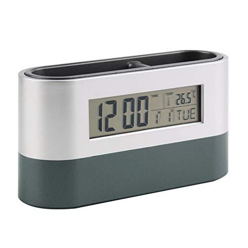 Oficina en casa Multifuncional Reloj Despertador con repetición Digital Soporte para bolígrafo Calendario Pantalla de Temperatura Negro Azul (Gris)
