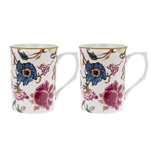Les Trésors De Lily [Q6458 - Coffret 2 Mugs Porcelaine 'William Morris Collection' Blanc Multicolore (Anthina) - 10x7.5 cm
