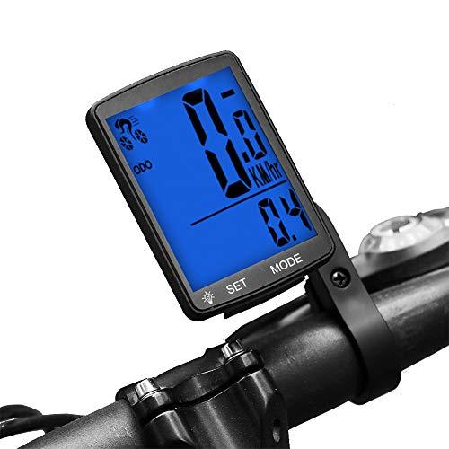 Dricar Fahrradcomputer Drahtlos Wasserdicht LCD Backlight Großbildschirm Fahrradtacho Radcomputer Tachometer Fahrrad Tacho Kilometerzähler für Radsport Realtime Speed Track