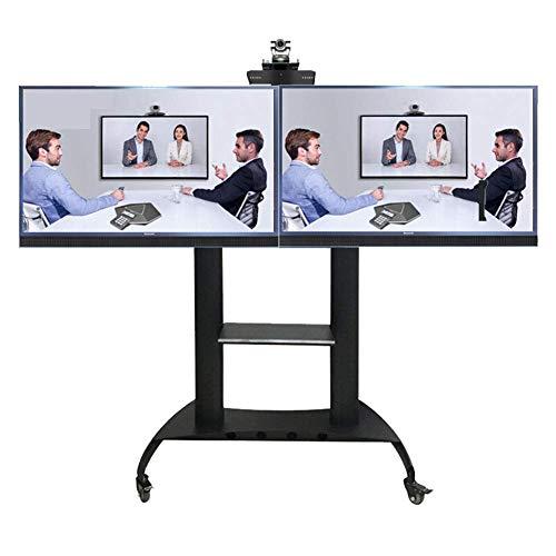 KBKG821 Doppelschirm-Fernsehstand-Stand-Standplatz, Fernsehwagen für ≤65 Zoll LED LCD Plasma Fernsehbildschirm zeigt Räder 360 ° Schwenkhöhe an
