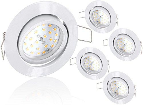 5er Pack - Ultraflacher LED 5W Einbaustrahler schwenkbar 230V - weiß - 470lm - 120° - warmweiß (2900 K)