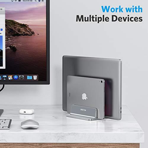 OMOTON platzsparend Laptopständer, Verstellbarer vertikaler Alulegierung Laptop Ständer für alle Tablets und 10-17.3 Zoll Laptops, z.B MacBook, Lenovo, Dell und mehr- Geeignet für 2 Laptops- Grau