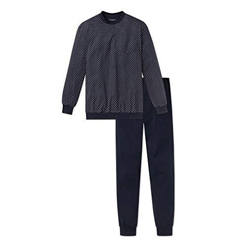 Schiesser Zweiteiliger Herren Schlafanzug lang mit Bündchen, Blau (Dunkel blau 803), L/52