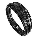 Bracelet Homme Cuir Bracelets pour Homme avec Magnetique Boucle en Acier Inoxydable et Boîte à...