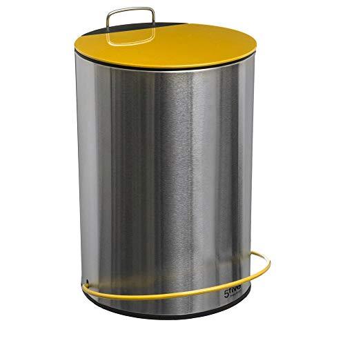 Poubelle 5 litres en métal jaune - D 20,5 cm x H 32,4 cm