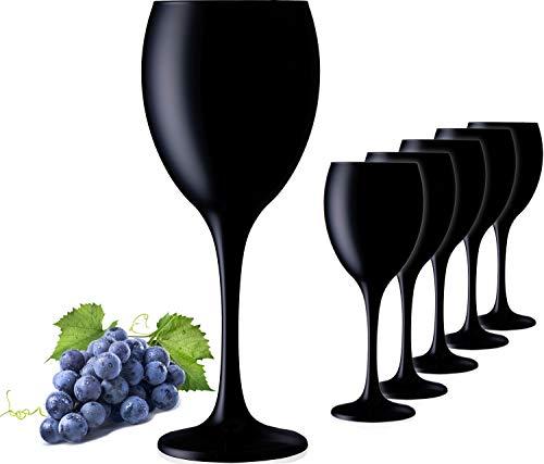 PLATINUX Schwarze Weingläser aus Glas Wasserglas Set 6 Teilig max. 320ml Getränkeglas Weißweingläser Trinkglas