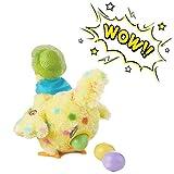 Oulian Gallina De Peluche, Juguete de Peluche eléctrico Muñeca Colocación de Huevos Pollos Juguete de gallina con Sonido Juguete de Aprendizaje Juguete de Actividades para niños Bebé