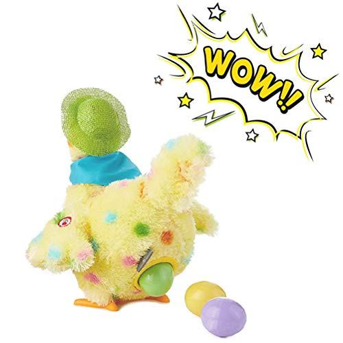 Jackallo Elektrisches Wandelndes Ei Das Huhn mit Lichtern Legt Tonspielzeugpuppe Die Ei Plüsch Legt Fest Hühnerhenne Die Eier Legt Spielzeug