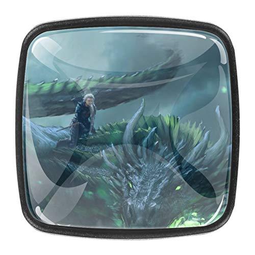 Juego de Tronos dragonsPomo cuadrado de cristal para gabinete de cajón, con tornillos, para gabinete de oficina en casa (0,4 piezas)