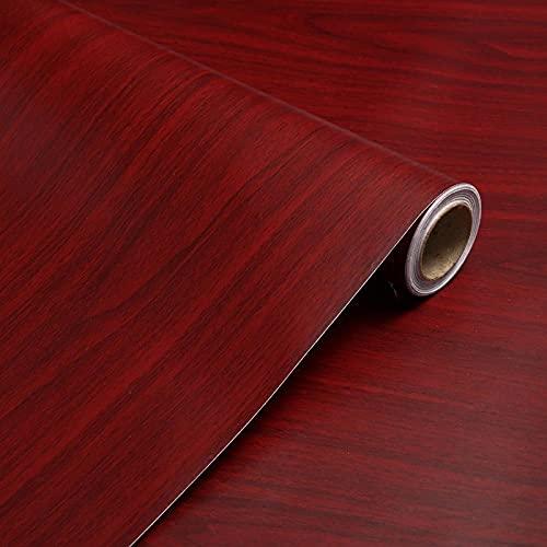Papel pintado de grano de madera vinilo autoadhesivo muebles puerta de armario encimera etiqueta de la pared de cocina 40 cm x 10 m-Arce rojo_5m
