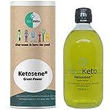 Go-Keto Ketosene® Verde Aceite MCT, 500ml | C8/C10, aceite de coco 100% sin aceite de palma, con omega-7 de aguacate y macadamia | Dieta keto | Batido keto | Paleo, vegano, bajo en carbohidratos
