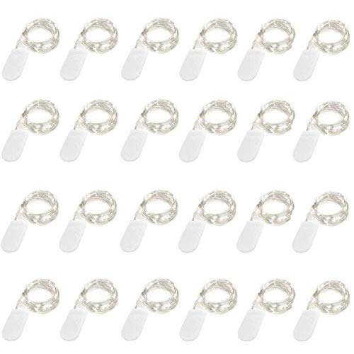 24 Pack Fairy Lights Battery Operated 6.6ft 20 Led Mini String Lights Silver Wire Starry Lights for DIY Wedding Party Festival Halloween Christmas (Cool White)