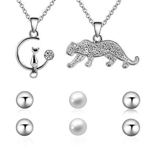 Conijiwadi Pantera Linda del Gato Pendiente de Las Mujeres niña Conjunto Collar de Plata de la Cadena Ajustable Animal con la joyería de Perlas Regalo
