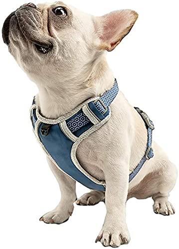 Arnés de Perro Sin tirón, Chaleco de Senderismo Reflectante para Mascotas, Nylon Transpirable Ajustable, operación Simple, Perros pequeños, medianos-Azul_Medio