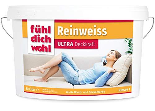 FühlDichWohl Reinweiss Ultra Deckkraft - Höchster Weißgrad - 10l Wandfarbe weiß, matt - Unsere Beste