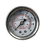 SUPERFASTRACING 0-160 PSI Fuel Pressure Regulator Gauge Liquid Fill Chrome Oil Gauge White
