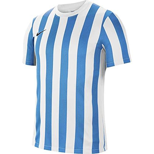 NIKE Camiseta de Manga Corta Unisex para niños a Rayas Division IV, Unisex niños, CW3819-103, Blanco, Azul y Negro, 12-13 Años