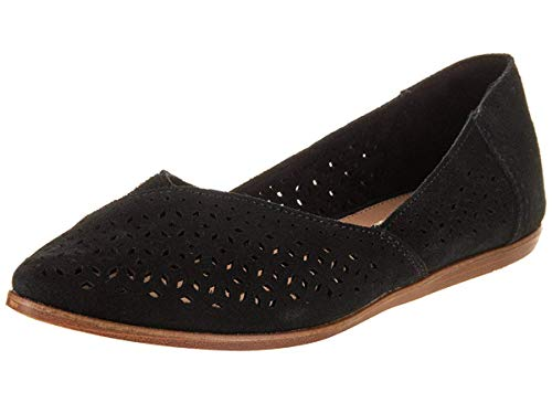 TOMS Women's Jutti Flats Black Perforated Suede 10011755 Women's Size 5