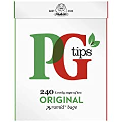 Pack of two, 240-count boxes of PG Tips Black Tea England's number one tea Made from the highest quality and most flavorful top two leaves and bud of the tea plant Pyramid shaped teabag acts like a miniature teapot, giving the leaves more room to mov...