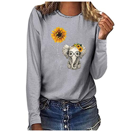 riou Camiseta Mujer Manga Larga Tops Otoño Primavera Casual Color Bloque Estampado de Girasol Blusa Camisa Sudaderas Túnica Jersey Suéter Abrigo Deportiva