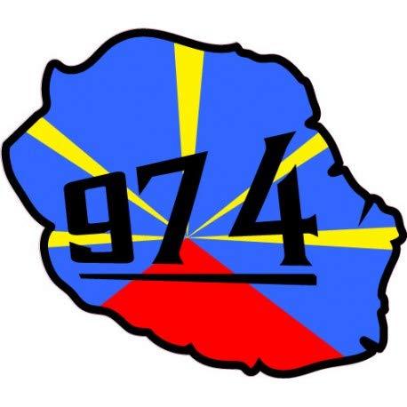 Réunion ile carte drapeau 974 autocollant adhésif sticker logo 12 - Taille : 8 cm