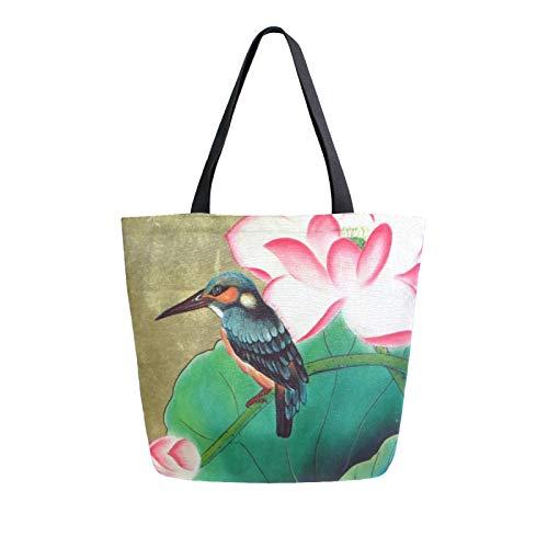 Viet Nam Lack-Vogel-Dekoration, Leinen-Einkaufstasche, waschbar, wiederverwendbar, für Lebensmittel, Einkaufen, Reisen, Picknick, Schule