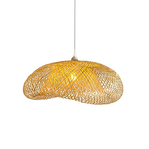 BarcelonaLed Lampe de plafond suspendue en osier naturel vintage avec culot blanc E27 abat-jour en rotin bambou pour salle à manger, cuisine, salon