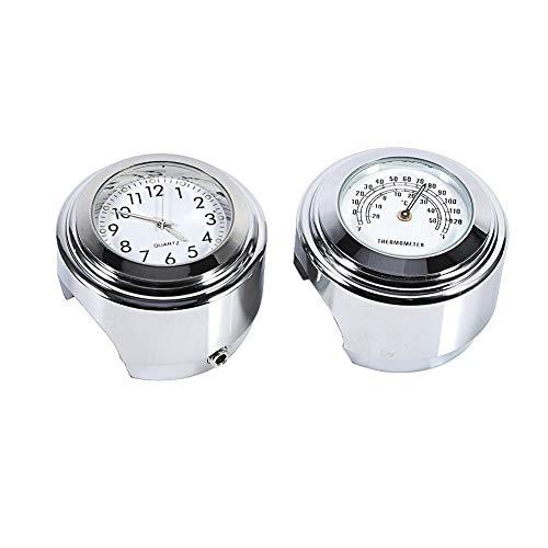 """Horloge de moto Thermomètre de table, 7/8""""1"""" Support de guidon de moto Montre Cadran Horloge Thermomètre Temp Blanc Pack de 1"""